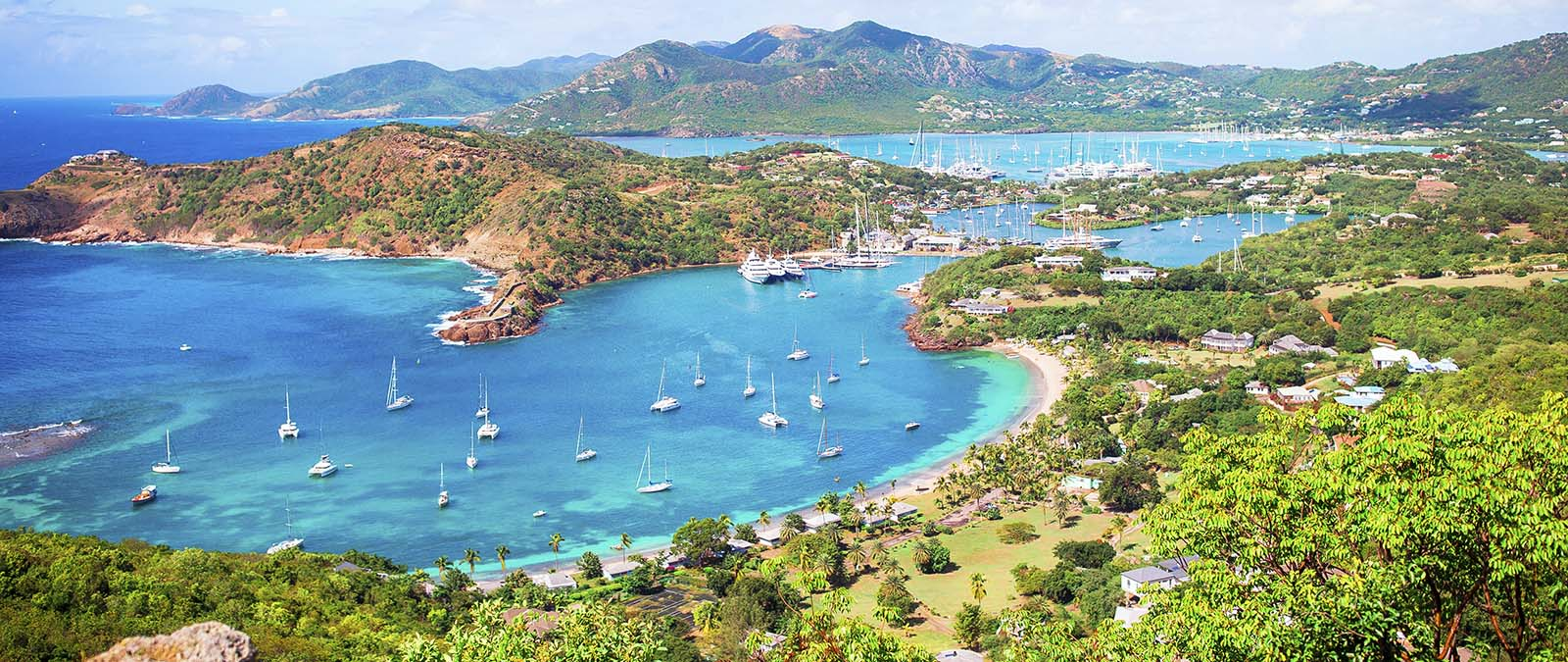View of english harbor from Shirley Heights in Antigua.