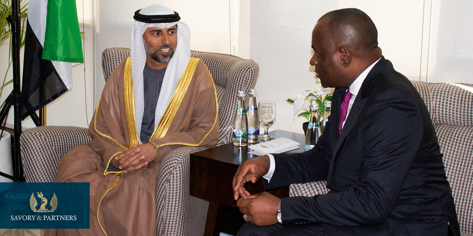 The UAE Minister of Energy and Industry, Suhail Al Mazroui & Honorable Roosevelt Skerrit, Prime Minister of the Commonwealth of Dominica.